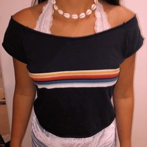 Brandy Melville Navy Rainbow Stripe tee